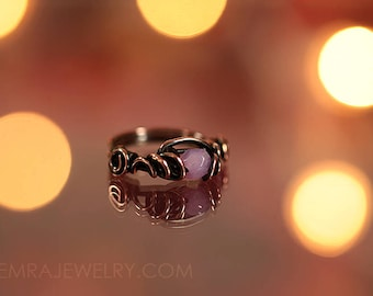 Copper Wire Wrap Rose Opal Czech Glass Ring Size 6.75 Copper Jewelry Wire Wrap Ring Dancing Wire Loops October Birthstone Solitaire Ring