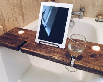 Bath Caddy - Bath Tray - Bath Shelf - Bath Rack - Bath Wine Glass Holder - Bath Wine Holder - Bath Book Holder - Relaxation Gift - Gift Idea