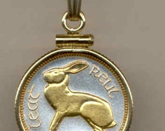 "Necklace - Gorgeous 2-Toned ""Gold on Silver"" Irish  ""Rabbit"",  Coin Necklaces"