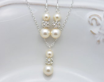 5 Ivory Pearl Jewelry Sets, Set of 5 Bridesmaid Necklaces and Earrings, Ivory Pearl Bridesmaid Sets 0238