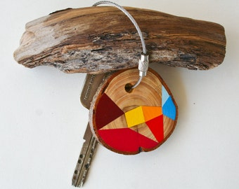 wood keychain with stainless  cable wire option plus initial on other side, orange, red,blue and yellow geometric triangle keyring