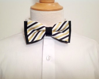 Adult bow tie, Black, white and gold stripes