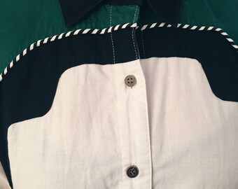 VINTAGE WESTERN Button Up Colorblocked