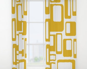 Retro Curtain Panels, Mid Century Modern Curtains, Modern Window Curtains, Modern Drapery, Retro Window Curtains, Retro Drapery Panels