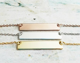 Personalized Bar Necklace - Mother's Day Gift - Gold Bar Necklace - Silver Bar Necklace - Rose Gold Bar Necklace - Bridesmaid Gift