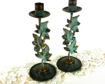 """Vintage Candle Holders, Brass and Green Candlesticks, 9"""" Green Leaf Candlesticks, Vintage Green & Brass Leaf Candlestick Holders, Set of 2"""