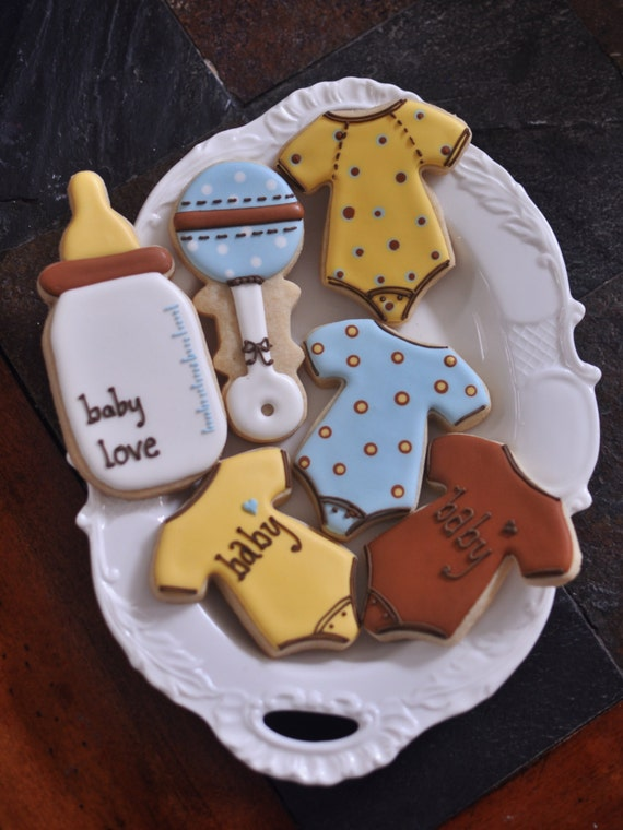12 Baby Shower Cookie Favor Collection- Baby Bottle, Rattle and Onesies
