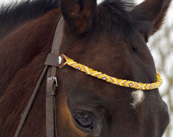 Seed beaded browband, yellow beads, brown leather, horse bridle parts, handmade decorative browband