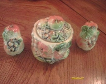 Vintage Tilsco, Sugar bowl and salt and pepper, hand painted fruit design,Fall colors,ceramic