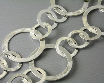 CHAIN-SL-FIG-26MM - Large Link Silver Plated Figaro Chain - 1 ft