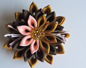 Kanzashi fabric flower brooch .