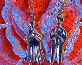Blessed couple silver milagro earrings, Silver Milagro blessed couple earrings,Silver MIlagro blessed couple earrings