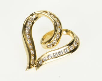 14k Channel Inset Encrusted Wavy Curvy Heart Pendant Gold