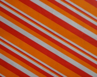 Vintage 1970s Gift Wrap All Occasion-MOD Oranges Stripe--1 Sheet