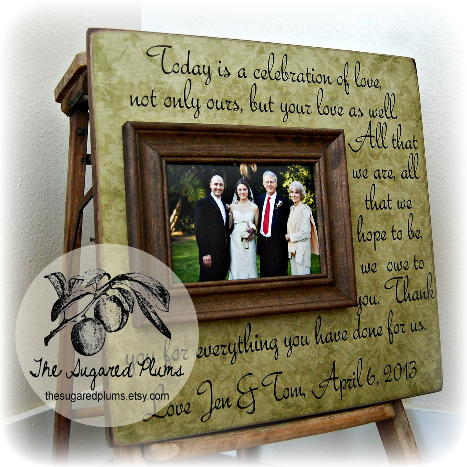 PARENTS THANK YOU Wedding Frame Today Is A Celebration Of