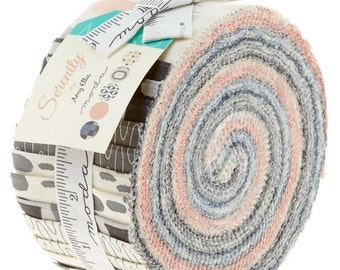 "Serenity by Moda 40- 2.5"" Strips Jelly Roll 100% Designer Cotton by Amy Ellis 3520JR"