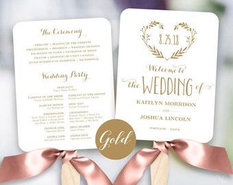 Gold Wedding Program Template, Printable Wedding Fan, Fan Wedding Program, Editable text, 5x7, Heart Wreath, VW08GOLD