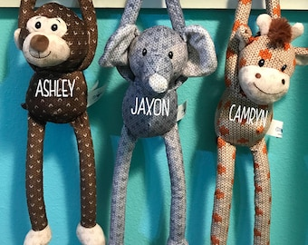 Personalized Knit-Style Plush Hanging Stuffed Animals - Valentines Day Gift