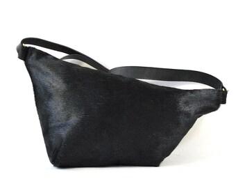 Emilie - Black Hair On Hide Leather Shoulder Bag Handmade AW17
