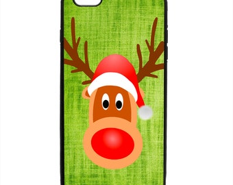 Rudolph Red Nose Reindeer Santa Hat Phone Case Samsung Galaxy S5 S6 S7 S8 S9 Note Edge iPhone 4 4S 5 5S 5C 6 6S 7 7S 8 8S X SE Plus