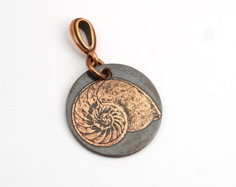 Small nautilus shell pendant, round etched copper jewelry, optional necklace, 22mm