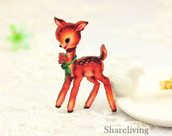 4pcs Wooden Deer Fawn Charm , Laser Cut Wooden Bambi Pendant, Perfect for Necklace Brooch  - HW088D