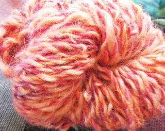 Orange Twice Over Handspun Wool Yarn for Halloween