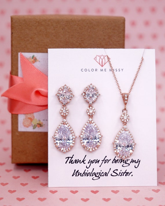Rose Gold Filled Wedding Bride Bridesmaid Gift Bridal Earrings Necklace Jewelry Set Clear Cubic Zirconia Teardrop Earrings E316 N250