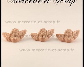 Set of 3 Angel 16 * 27mm ecru beige buttons
