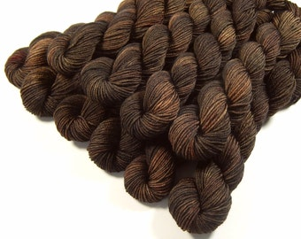Sock Yarn Mini Skeins, Hand Dyed Yarn, Fingering Weight 4 Ply Superwash Merino Wool - Bark Tonal - Brown Knitting Yarn