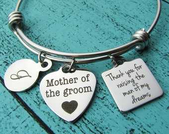 Mother of the groom gift from bride, thank you for raising the man of my dreams, Mother of the groom bracelet, wedding gift Mother in law