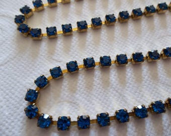 3mm Capri Blue Rhinestone Chain - Brass Setting - Preciosa Czech Crystals