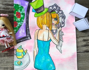Alice Dollie 9 x 12 Painting, Alice, Big Eyed Girl, White Rabbit, Wonderland, looking glass, big eyes, big eye