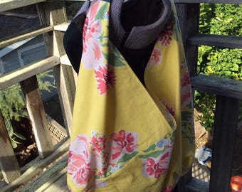 Yellow Floral Bento Bag, Origami Shopping Bag, Bento Bag Carryall