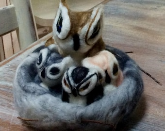 Hand Felted owls and nest