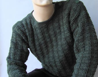 Men's Sweater, Men's Wool Sweater, Men's Crochet Sweater, Button Shoulder Sweater, Pullover, Jumper, Hunter Green Sweater,  Available in S/M