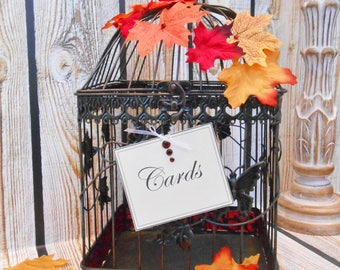 Fall Leaves Wedding Birdcage Card Holder | Fall Wedding Card Box | Fall Wedding | Fall Leaves | Rustic Autumn Wedding Decor [READY TO SHIP]