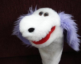 Dog hand puppet with moveable mouth purple ears faux fur