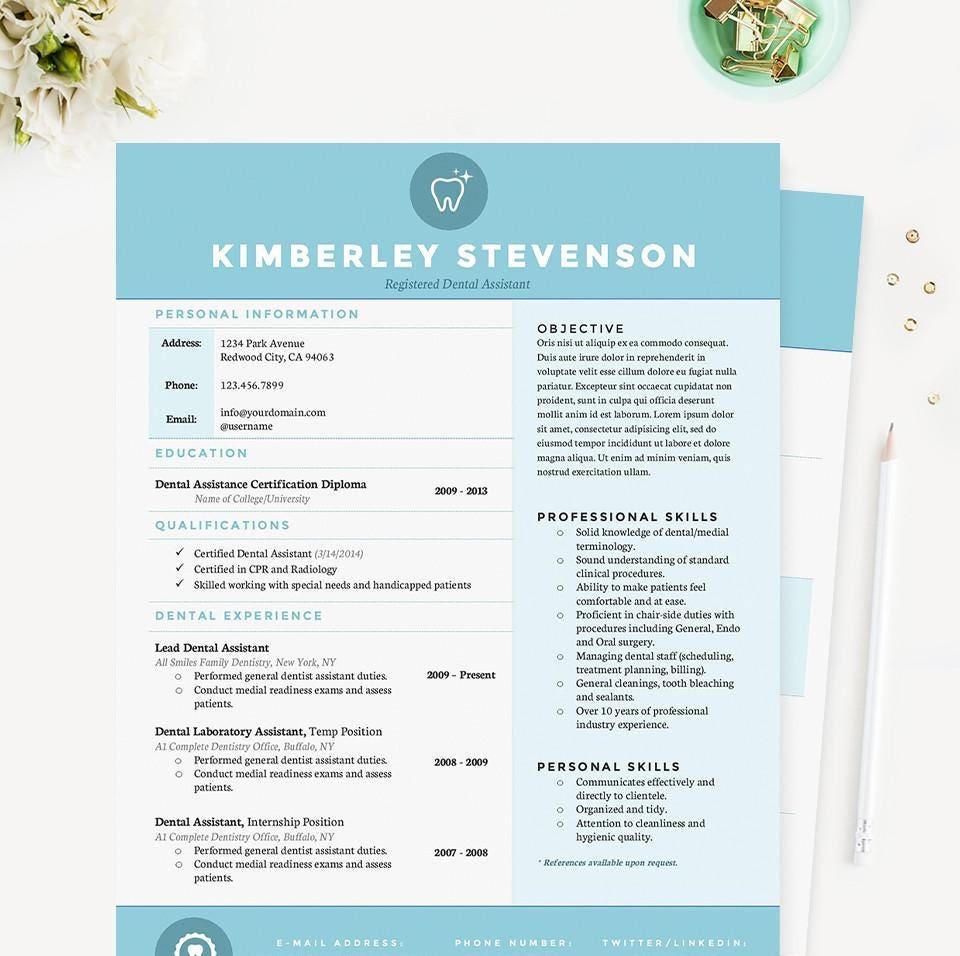 blue dental assistant resume cover letter  u0026 references