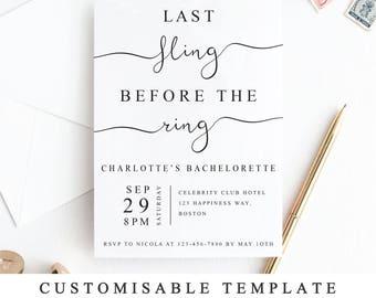 Last Fling Before The Ring Bachelorette Party Invitation Template, Printable Bachelorette Invite, Editable PDF Modern Wedding Card, 5x7 4x6