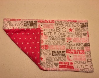You are my sunshine burp cloth in pink