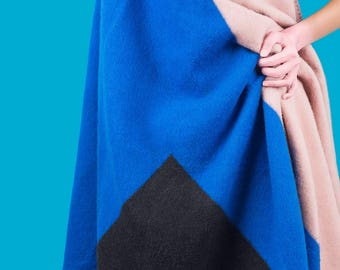 COURAGE Merino Wool Blanket - Blue/Black/Rose Pink