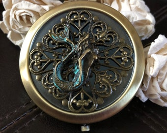 Mermaid purse mirror, mermaid gift, mermaid compact mirror, mermaid pocket mirror, mermaid mirror, nautical accessories, mermaid lover