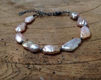 Women high luster lavender keshi baroque pearls Bracelet, Adjustable, Oxidized Sterling Silver, Stylish
