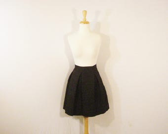 Black Pleated Unique Skirt Textured Short Skirt Punk Chic L