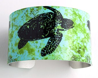 Sea Turtle Wide Cuff Bracelet