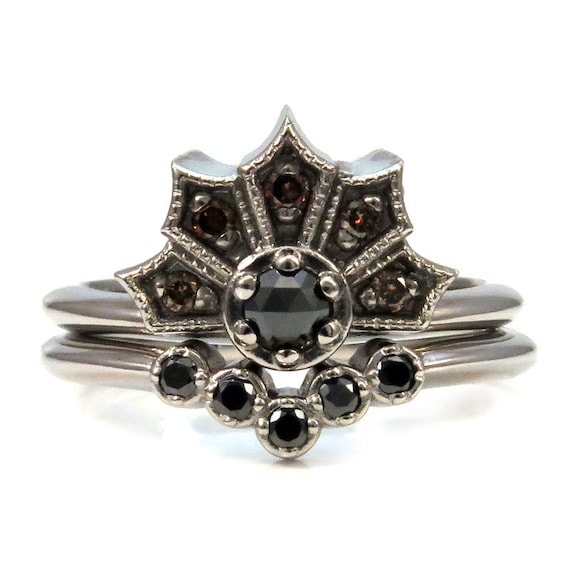 Gothic White Gold and Black Diamond Crown Ring set with Nesting Wedding Band - Palladium White Gold and Champagne Diamonds Engagement Ring