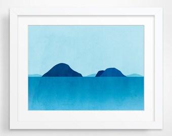 Ocean Seascape Art, Beach Decor, Abstract Art Landscape, Minimalist Poster, Coastal Decor
