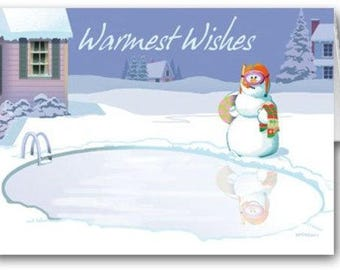 Frozen Pool Snowman Holiday Card 18 Cards and Envelopes - 20026