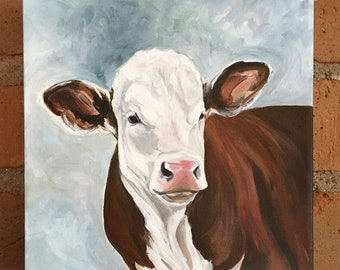 ORIGINAL 10x10 Hereford cow painting